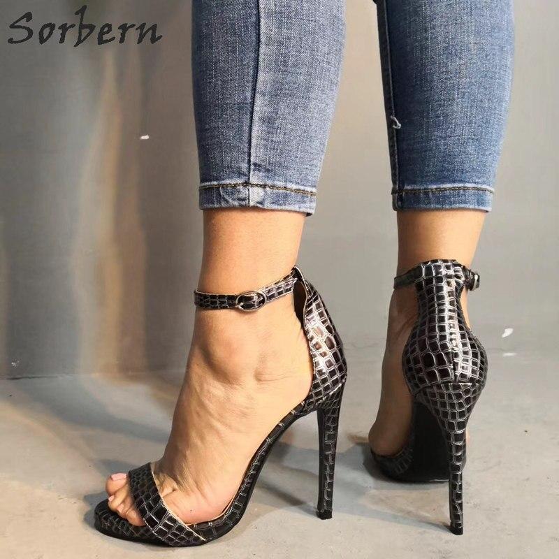 Sorbern змеиная кожа женские сандалии с ремешком на щиколотке один ремешок женская обувь размер 12 женская обувь модные сандалии 2019 Мода - 4