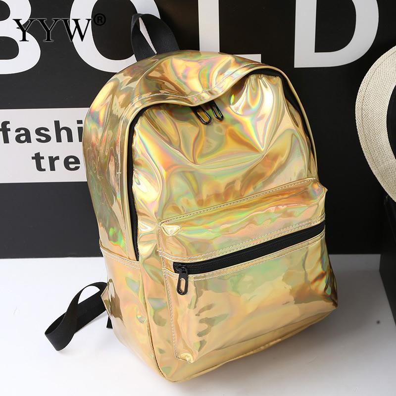 Fashion Women Travel Backpack Pu Leather Laptop Backpack Large Capacity Notebook Backbags Bling Waterproof Mochila Sac A Main