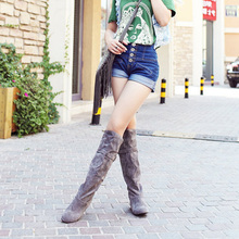 2014 autumn and winter women's low heel Shoes fashion wild knee-high boots Belt buckle women boots Plus Size 34-43 XY183