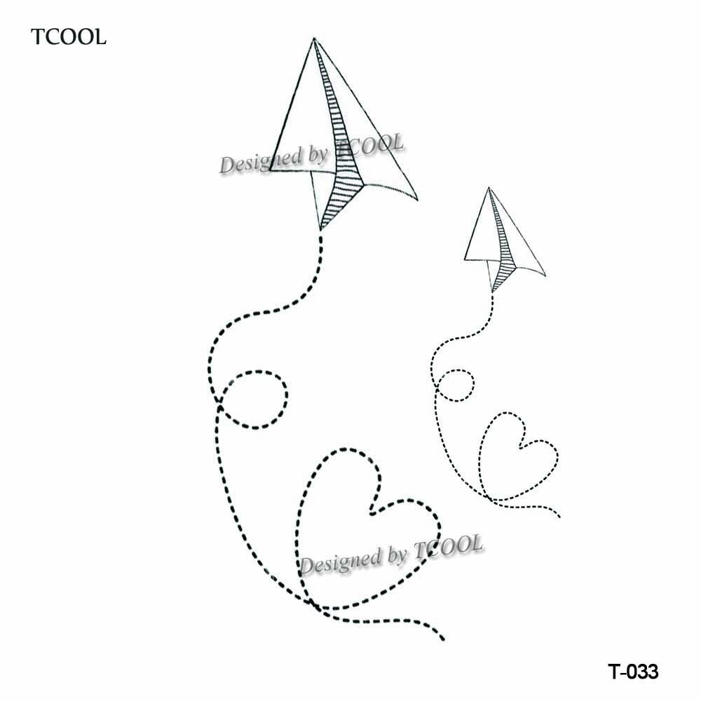 HXMAN Paper Plane Women Temporary Tattoo Sticker Waterproof Fashion Fake Body Art Tattoos 9.8X6cm Kids Hand Tatoo T-033