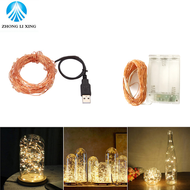 50/100 led USB/Battery Operated copper wire String Lights Christmas ...