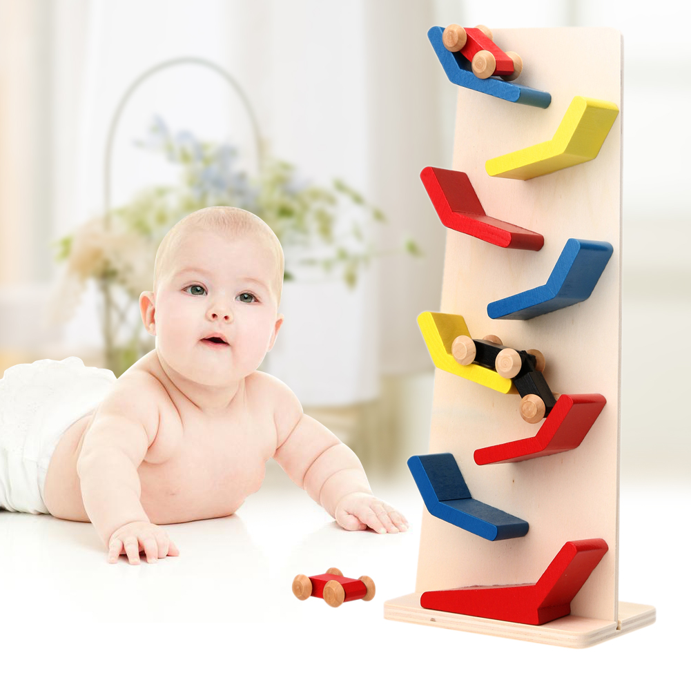 Baby Wooden Race Cars Parent-child Toy Kids Click Clack Racetrack Interaction Zig Zag Race Cars Toy for Kids Gift Toys