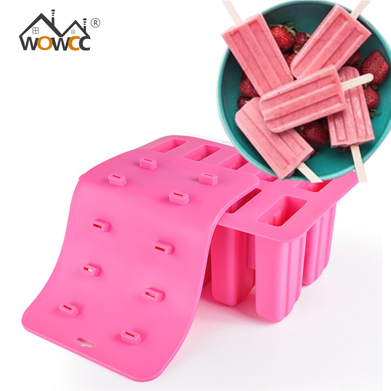WOWCC 1PC Childhood Silicone Ice Cream Cube With Cover Tray Popsicle Molds Reusable Pop Lolly Frozen Mold Pan Kitchen Tools 2017