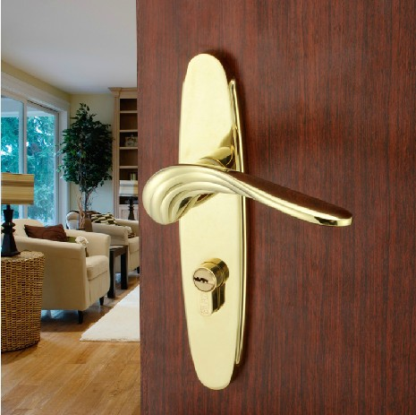 European Style Indoor Dual Latch Room Door Panel Handle Lock With Key european fashion glass crystal live room book room door handles amber white indoor lock mechanical handle lock bearing lock body