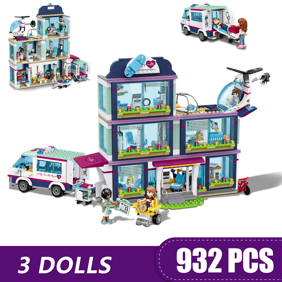 932PCS Small Building Blocks Toys Compatible with Legoe Friends Heartlake City Hospital Gift for girls boys