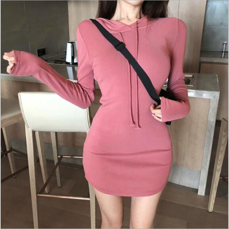 Hot Sexy Dress Women Spring Autumn Solid Color Long Sleeve Hooded Mini Women Dresses Casual Slim Fit Sheath Dress