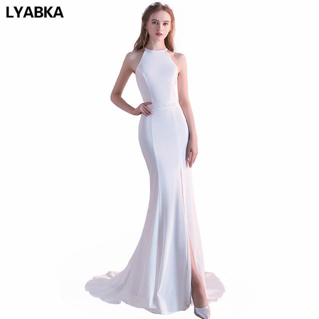 Cheap Halter Neck Prom Dresses Vestido De Festa 2017 Sexy Mermaid Prom Dress High Quality Side Slit White Prom Dress For Party