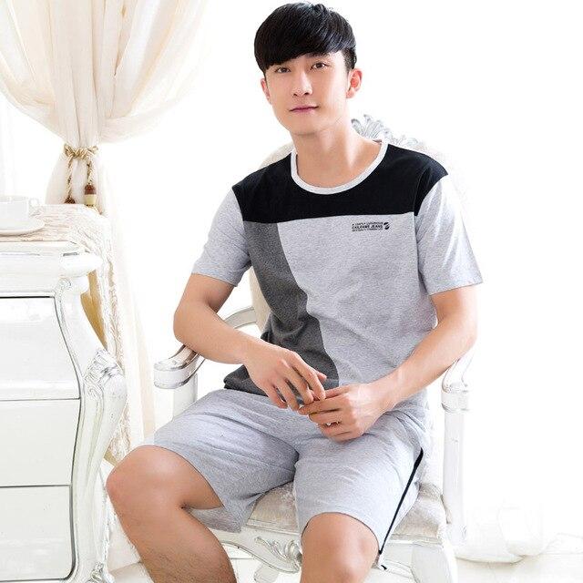 2016 summer cotton short-sleeved  men's cotton plus size loose pajama suit tracksuit  054