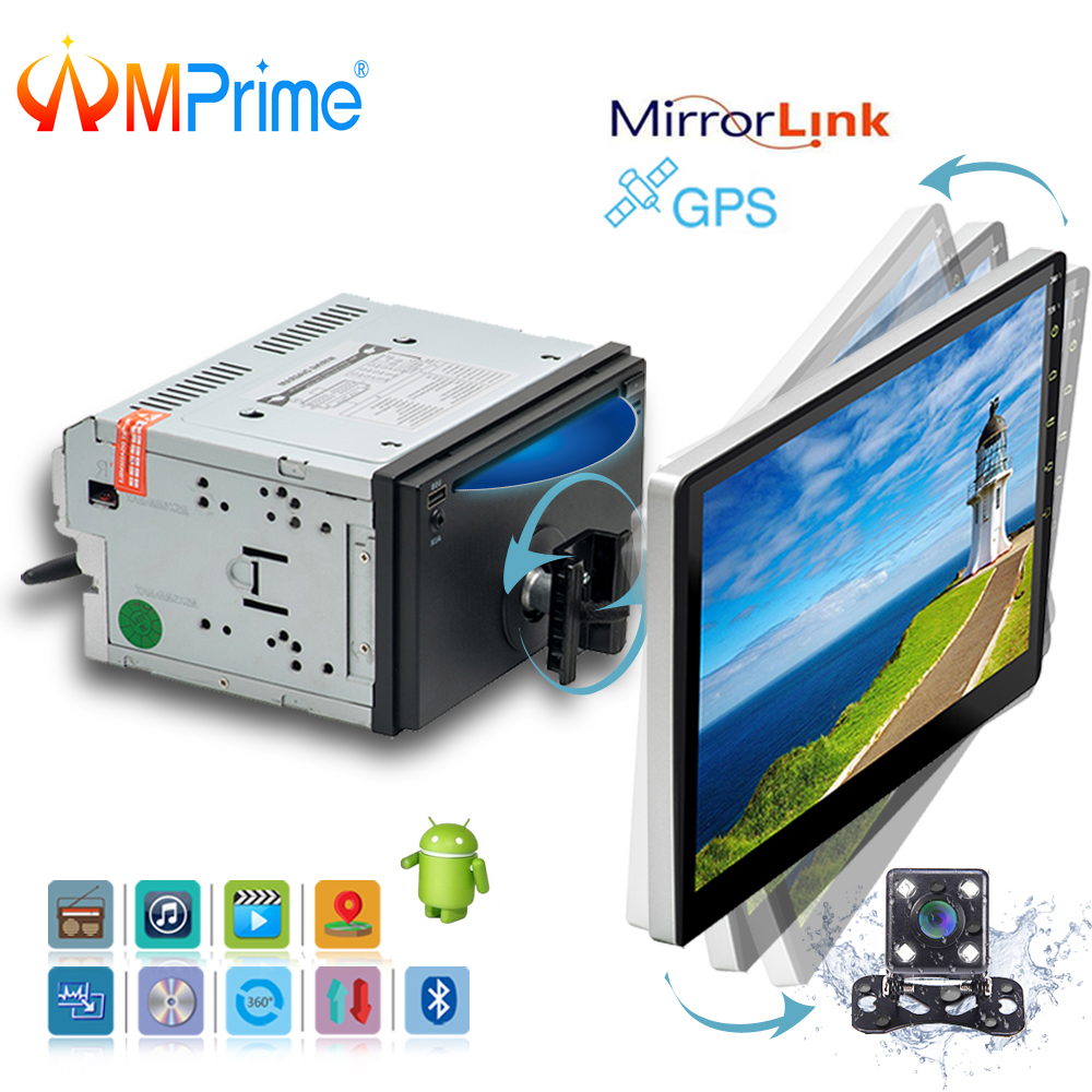 AMPrime 10.1 2 Din Android Car Multimedia player Rotatable Car Radio Universal Car CD/DVD Player Support Wifi GPS FM