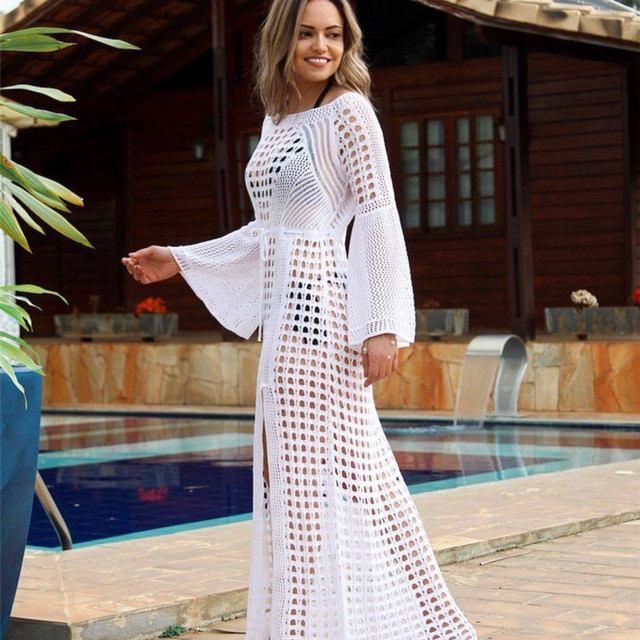 d6bd16183d Women Cover Up Beach Outwear Swimwear Ladies Beachwear Tunic Outlet Bathing  Suit Saida Praia Feminino 2019