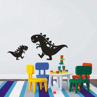 Две милые динозавры виниловые детская комната пропуск стены Стикеры для детей Спальня настенные украшения мода Домашний Декор росписи Диз...