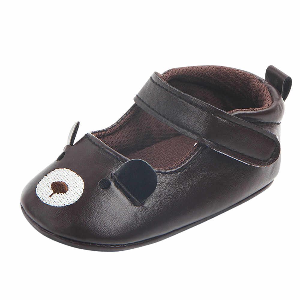 Estilo de dibujos animados lindo-bebé zapatos de moda Zapatos de bebé de suela suave, para niños de dibujos animados zapatos de cuero antideslizantes zapatos F5