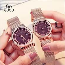 e5f52196abe GUOU Assistir Top Relógios De Luxo Casal Moda Casual Auto Data Homem   Wmen Relógio  de Aço Inoxidável Relógio de Quartzo relogio.