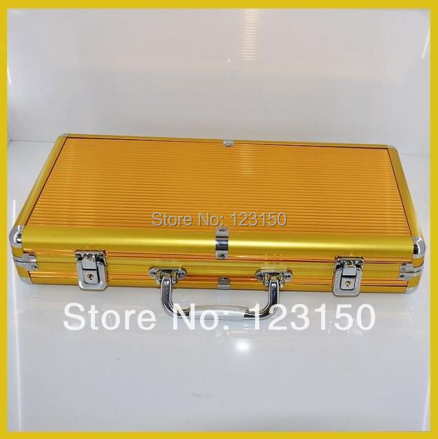 AC-004 High Quality Poker Chip Aluminum Case for holding 300pcs chips, Golden pk 8001 200pcs chip set 13 5g per chip include 200pcs chips with one aluminum case free shipping