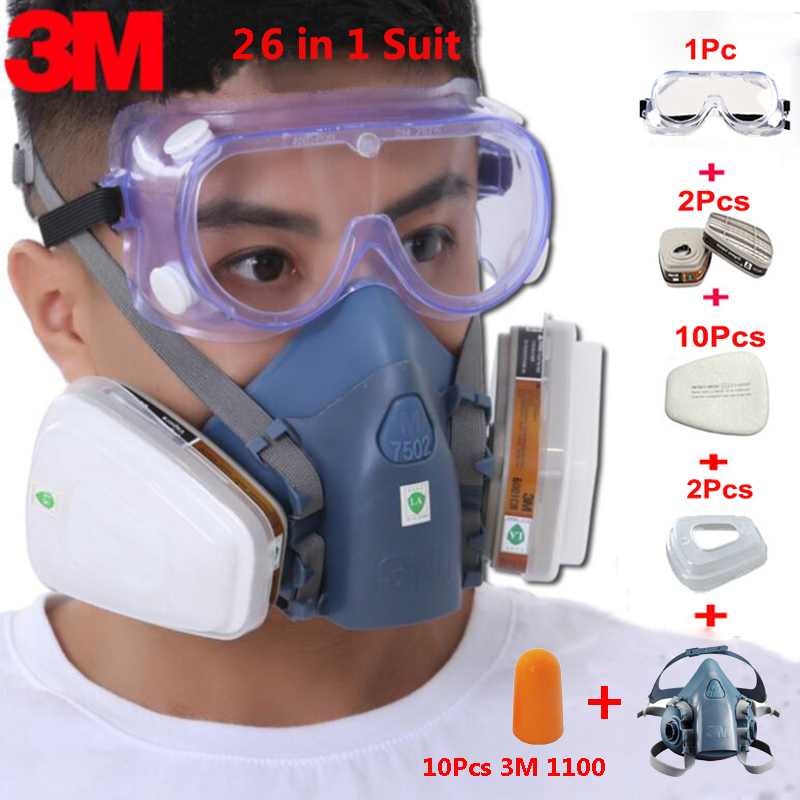 26 In 1 Suit 3M 7502 Gas Mask With Safety Work 1621 Goggles Industry Dust Proof Respirator Mask With 1100 Earplug 11 in 1 suit 3m 6200 half face mask with 2091 industry paint spray work respirator mask anti dust respirator fliters