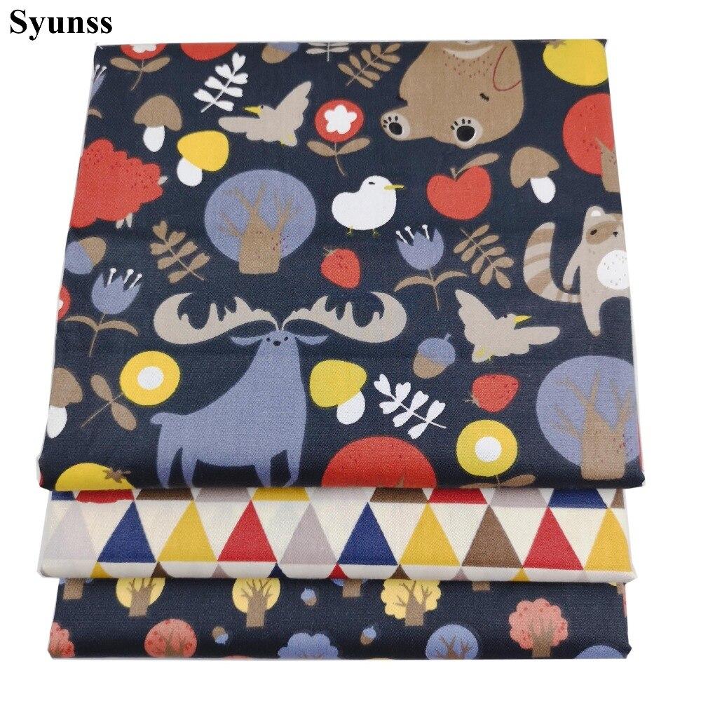 Syunss Diy Лоскутная Ткань для квилтинга колыбели подушки платье ткань для вышивки животных Лес набивная саржа хлопок ткань