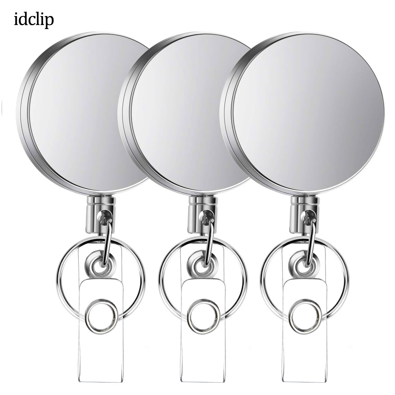 Idclip 3 Pieces Metal Retractable Badge Holder Heavy Duty ID Badge Reels With Key Chain Belt Clip ID / Key Card