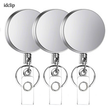 idclip 3 Pieces Metal Retractable Badge Holder Heavy Duty ID Reels with Key Chain Belt Clip / Card