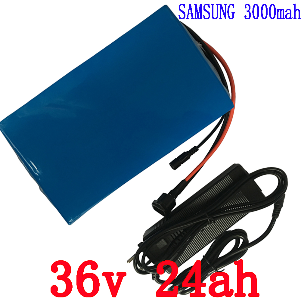 1000W 36V lithium battery 36V 24AH EBike battery Use for samsung 3000mah cell with PVC case 30A BMS 42V 2A charger free shipping free customs taxes super power 1000w 48v li ion battery pack with 30a bms 48v 15ah lithium battery pack for panasonic cell