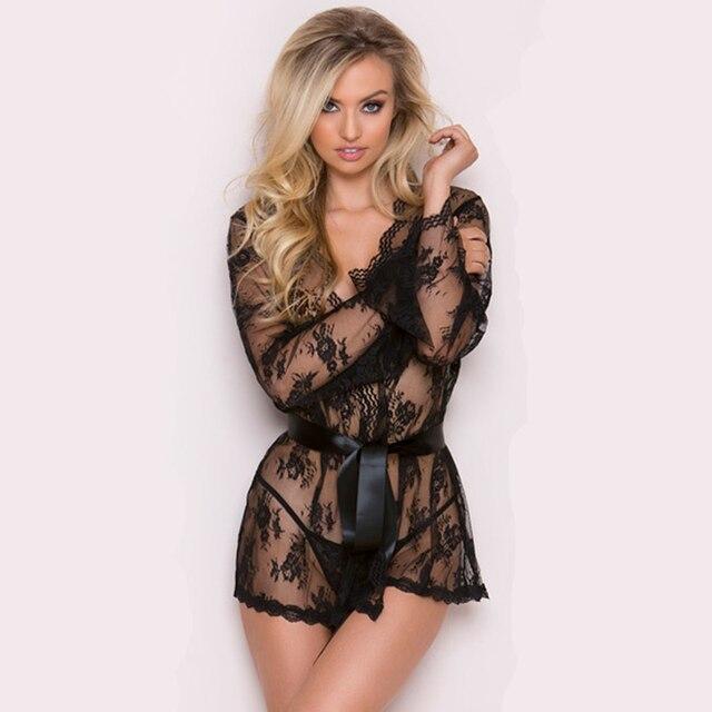 f6e295f8ff3e0 Women Ladies Floral Silk Lace Babydoll Nightie G-String Pant Set Long  Sleeve Nightgown Sleepwear Nightdress