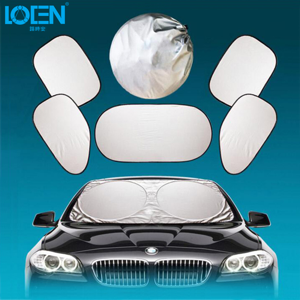6PCS Folding Car Sunshade Front Back Windshield Side Windows Cover Whole Car Sun Shade Aluminum Foil Silver Auto Accessories