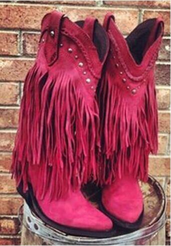 Women fashion boots Autumn Winter boots knee-high chunky heels round toe fringe design women western shoes rose green grey nemaone women knee boots 2017 sexy vintage chunky high heels spring autumn shoes round toe less platform motorcycle boots