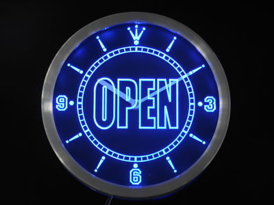 Nc0270 OPEN Shop Display Cafe Business Neon Sign LED Wall Clock