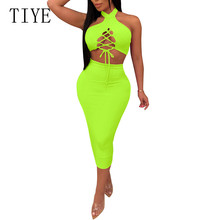 TIYE Sexy Hollow Out Cross Bandage Halter Two Pieces Sets Pencil Dress Elegant Women Celebrity Party Vestidos De Verano