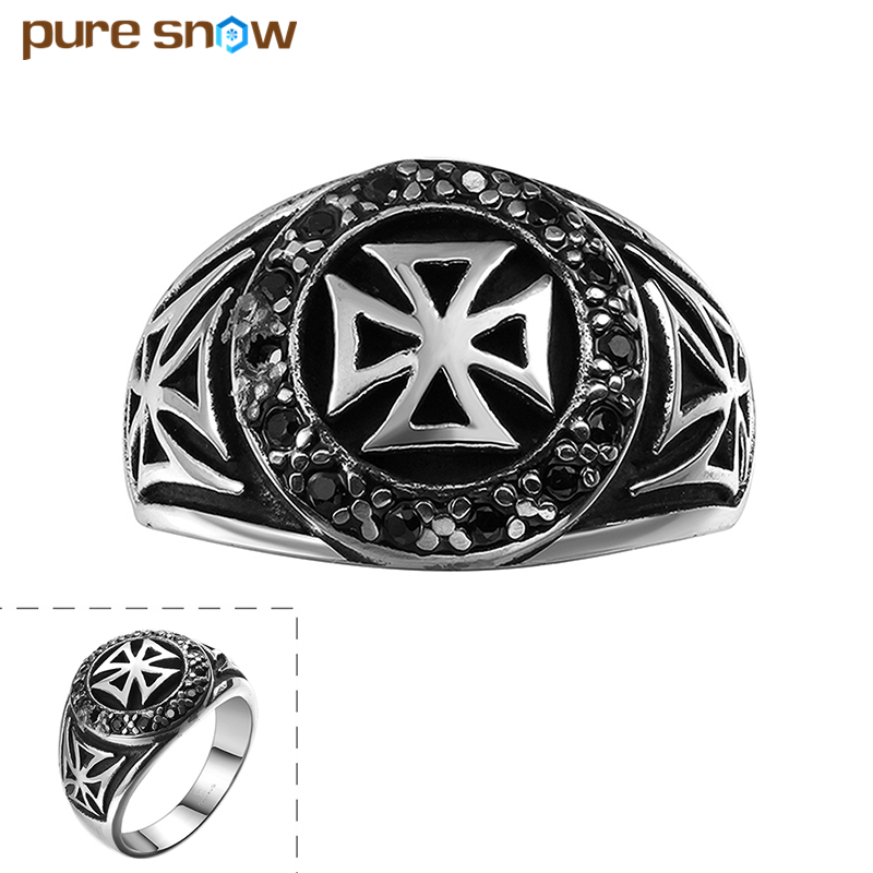 Pure Snow Punk Boys Mens Ring Sliver Plated Carved Cross Signet Ring 316L Stainless Steel Ring Male Jewelry