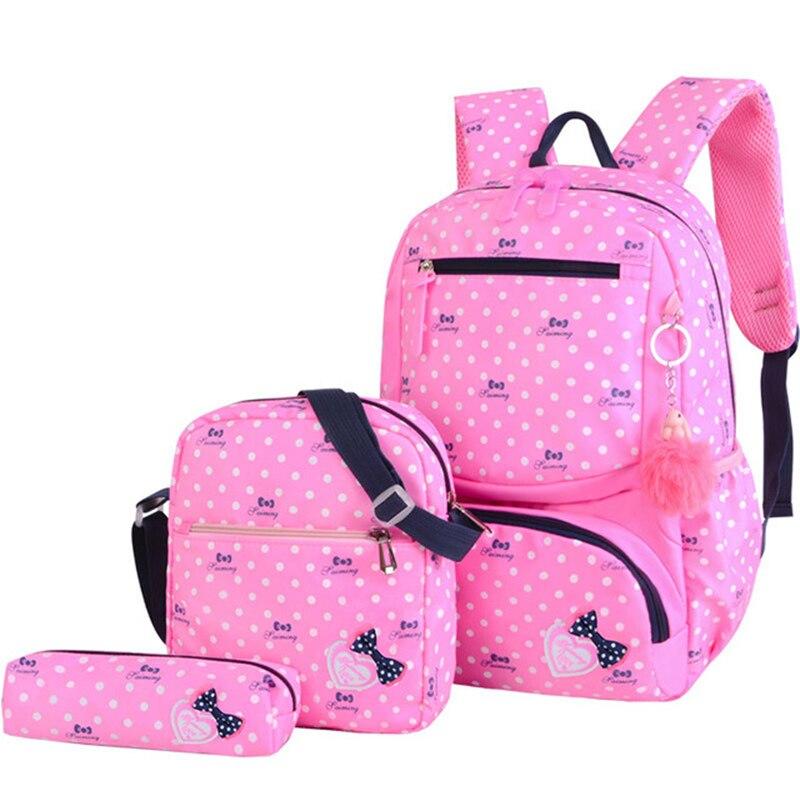 2018 New Children School Bags For Girls Kids School Backpack 3Pcs/Set Fashion Printing Schoolbag Backpacks Mochila Infantil