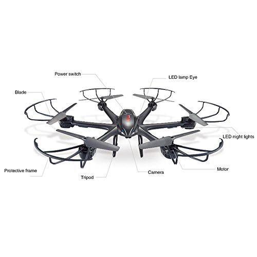 MJX X601H 2.4Ghz 6-axis Gyro 3D Roll Quadcopter Wireless and HD Video Real-time WiFi FPV Camera-Black квадрокоптер радиоуправляемый mjx bugs 3