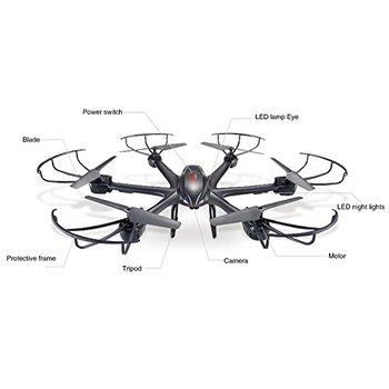 MJX X601H 2.4Ghz 6-axis Gyro 3D Roll Quadcopter Wireless and HD Video Real-time WiFi FPV Camera-Black