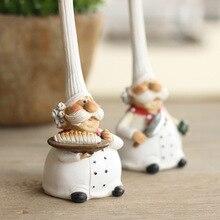 2 Pcs/Set Resin Figurine Cake Bakery Chef Miniature Cook Statue Home Decoration Accessories Kitchen Restaurant Bar Cafe Decor