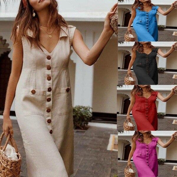 Plus Size Dress 5XL 4XL XXXXL XXXXXL Linen Dress Oversize Dresss Button Pocket Casual Summer Runway Dresses 2019 Women Vestido