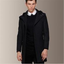 2015 Новый Зиму Шерстяное Пальто С Капюшоном Мужчины Серый Шерстяные Пальто Тонкий Fit Мужская Пальто Кашемировые Пальто Peacoat Sml XL XXL A756