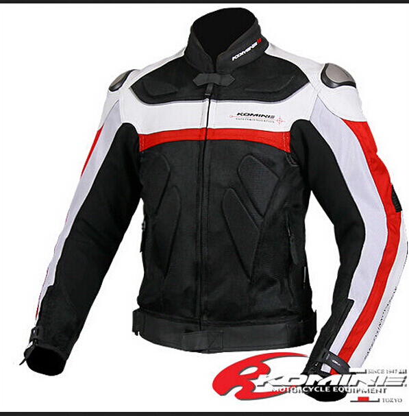 KOMINE JK 021 The titanium leather with mesh racing suits motorcycle clothing 2Color with 7pcs protector