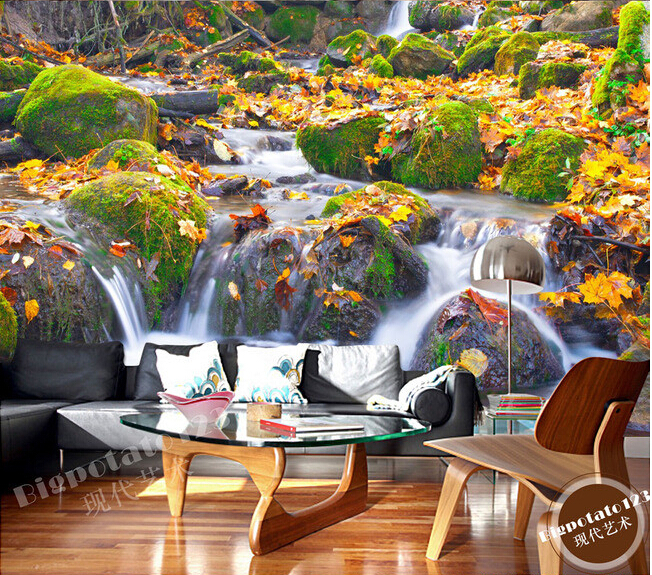 The latest 3D murals,Moss stone deciduous streams and waterfalls landscape photography , living room TV sofa bedroom wall paper