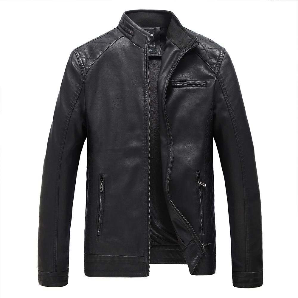 jaqueta de couro masculina männer lederjacke pelzmantel mittleren - Herrenbekleidung