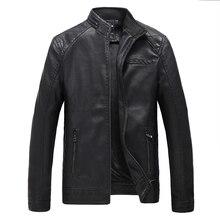 Jaqueta де couro masculina мужская кожаная куртка меховая пальто среднего возраста кожа PU куртка пальто стоять воротник размер мужской 4XL