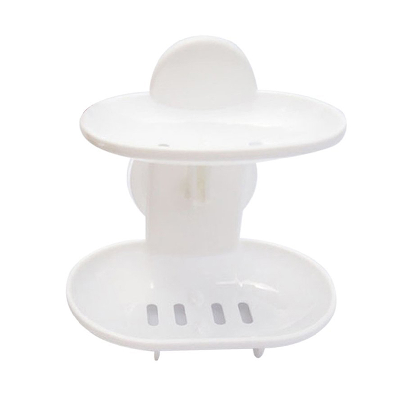 Double Soap Dish Strong Suction Soap Holder Cup Tray For Shower Bathroom (White)