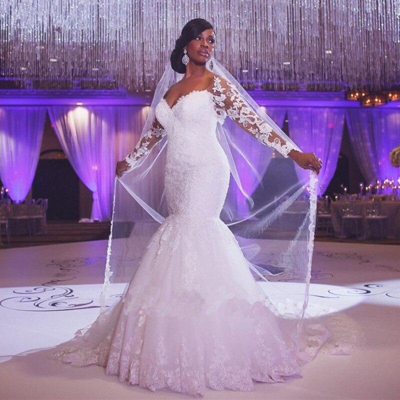 Vestido De Noiva 2019 White Wedding Dress Mermaid Sweetheart Long Sleeves Appliques Lace Saudi Arabic Wedding Gown Bridal Dress