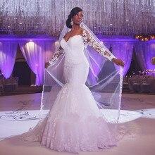 Vestido De Noiva 2019 White Wedding Dress Mermaid Sweetheart Long Sleeves Appliques Lace Saudi Arabic Gown Bridal