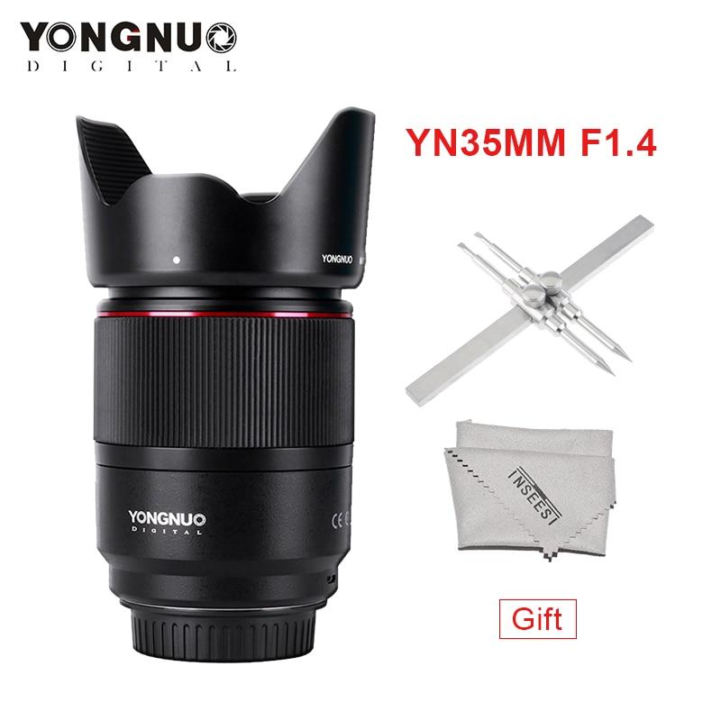 YONGNUO YN35mm  Lens  F1.4 Wide-Angle PrimeBright  F1.4 Lens Large Aperture AF MF Lenses For Canon DSLR Cameras