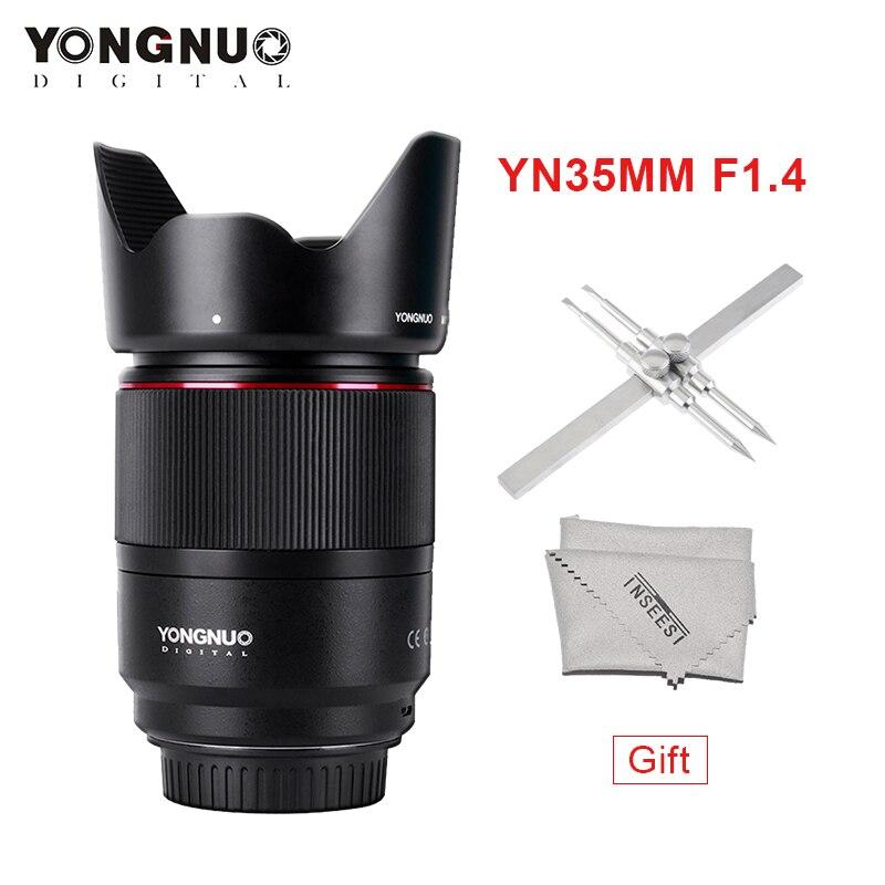 YONGNUO YN35mm Lente F1.4 Wide-Angolo di PrimeBright F1.4 Lente Grande Apertura AF MF Lenti per fotocamere REFLEX digitali Canon