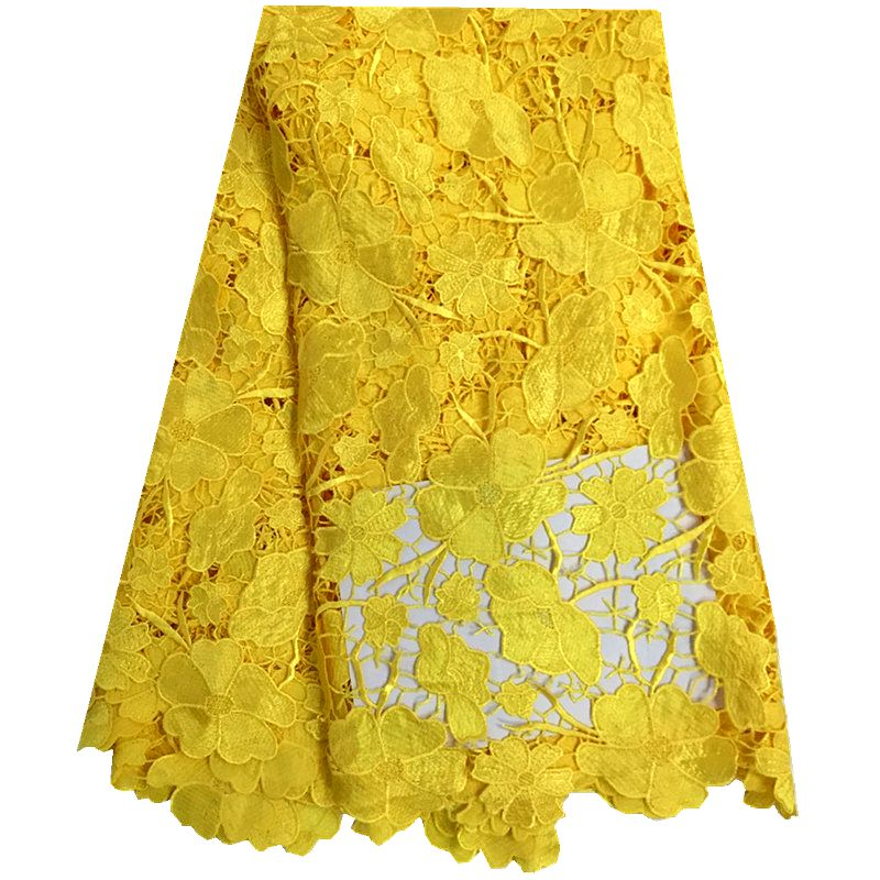 Yellow African Cord Lace For Wedding Dress.High Quality Guipure Lace Fabric With Nice Flower,New Nigerian Lace Fabric F10173-in Lace from Home & Garden    1