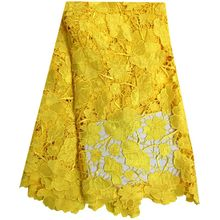 Yellow Color African Cord Lace For Wedding Dress.High Quality Guipure Lace Fabric With Nice Flower,New Nigerian Lace Fabric