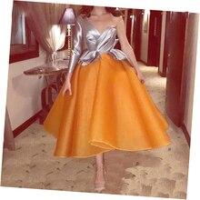 Модная пышная Оранжевая женская плиссированная юбка длиной до щиколотки для формальной вечеринки, на молнии, на заказ, для взрослых женщин, Saias