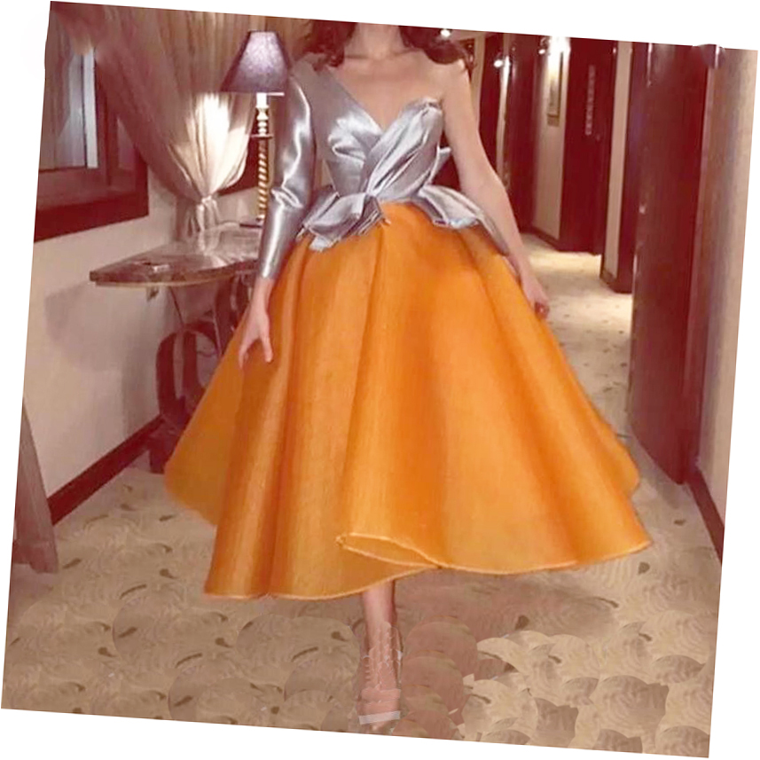 Fashion Puffy Orange Color Ankle Length Pleated Women Skirts To Formal Party Zipper Custom Made Female Adult Saias