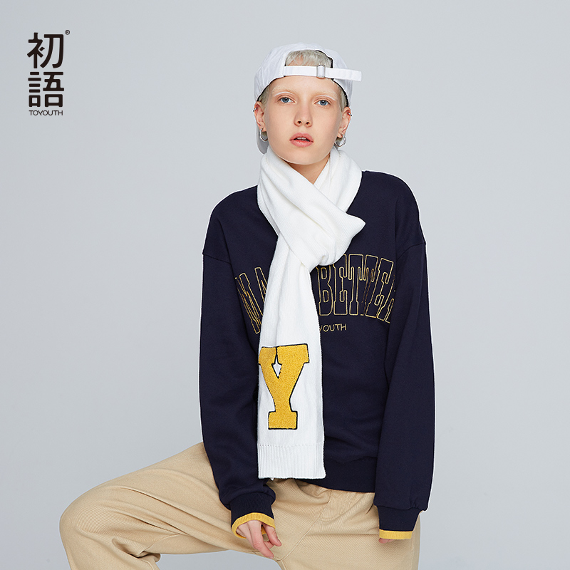 Toyouth lettre imprimer hiver sweat Streetwear femmes femmes Sweatshirts court Harajuku manches longues Mujer Sudadera 2019