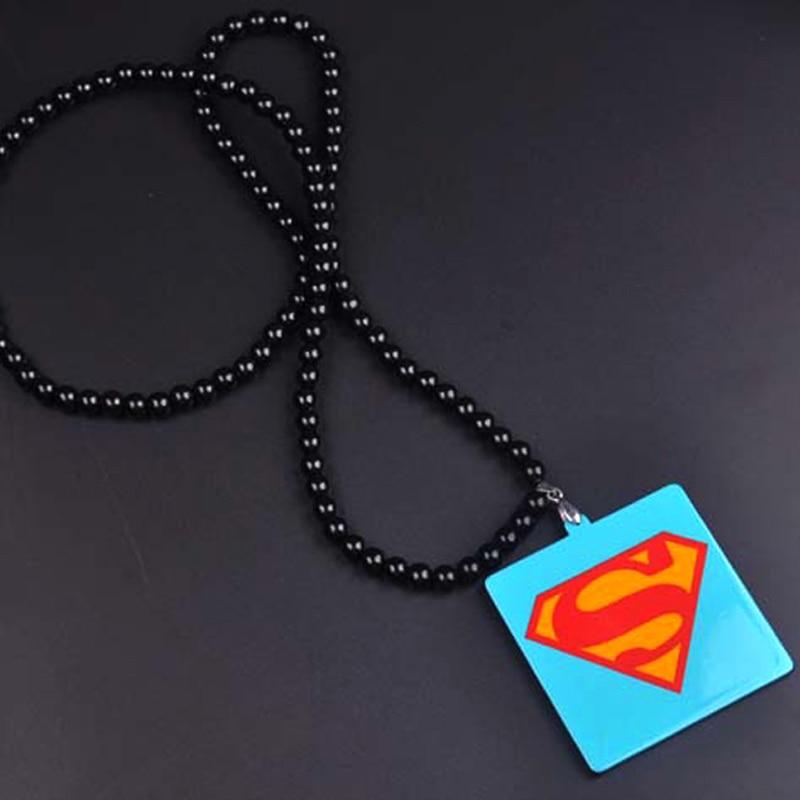 New Hip Hop Superman Necklace Chains For Men Long Bead Chain Skull Pendant Necklaces Male Jewelry Bijoux Gift Collier Bijoux